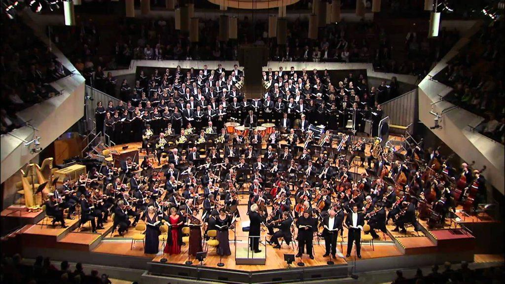 The Berliner Philharmoniker on stage in performance of Gustav Mahler's Symphony 8