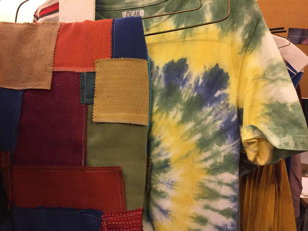 Gerry's patchwork pants and Denni's tie-dye shirt ready to be worn! All of the tie-dye was hand-dyed by the wardrobe crew.